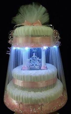 III-Tier Pink Princess Tiara Light-Up Diaper Cake that Spins