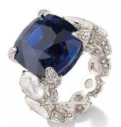 Blue sapphire and diamonds