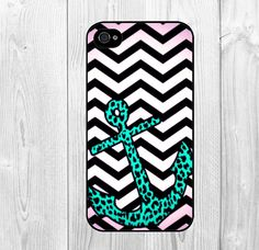 Cool Black and White Chervon Stripes with Green Anchor Pattern Hard Snap on Case Protective Skin Cover For Apple iphone 4 4s, iphone 5 5S, iphone 5C