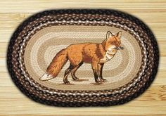 20in. x 30in. Fox Braided Oval Patch Rug