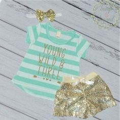 Young Wild And Three Third Birthday Outfit Girl Gold Sequin Shorts, Headband T-Shirt Girl 3rd Birthday Girl Outfit 136