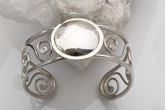 Sterling Silver Cuff, Sterling Silver Cuff Bracelet, Sterling Silver Scroll Cuff, Scroll Cuff Bracelet, Hammered Sterling Cuff - C9102
