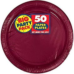 Amscan Big Party Pack 9 Round Paper Plates Berry 50 Plates Per Pack Set Of 2 Packs Fall Birthday Parties, 50th Party, Big Party, Tissue Paper Tassel, Tissue Paper Flowers, Crepe Streamers, Paper Dinner Napkins, Party Plates, Dessert Plates