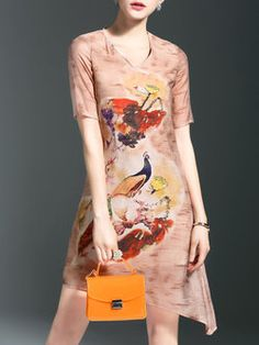 Elegant Short Sleeve Cotton Midi Dress