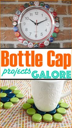 Bottle Cap Projects Galore.  Unique home decor using collected bottle caps.  Coaster, clocks and more...