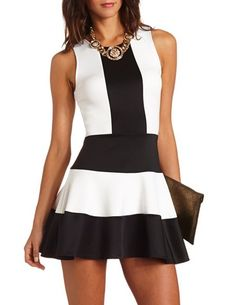 Color Block Scuba Skater Dress: Charlotte Russe