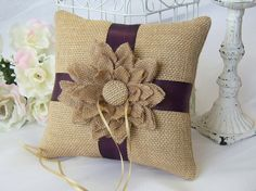 Natural Burlap With Eggplant, Wedding Ring Bearer Pillow, Rustic/Romantic on Etsy, $30.00