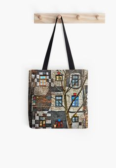 """Soft polyester canvas shopping bag with edge-to-edge print on both sides. Fully lined for extra strength. Three sizes to choose from. The Kunst Haus Wien (""""Art House"""" - architect: Friedenreich Hundertwasser), Vienna, Austria."""