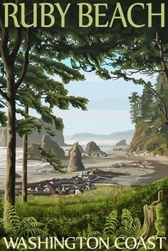 Ruby Beach, Washington Coast - Lantern Press Poster