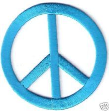 "3"" Turquoise Hippy Peace Sign Symbol patch applique Need for my pool case"