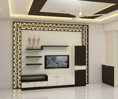Best 40 modern TV wall units wooden tv cabinets designs for living room interior 2020 unit With Mandir Living Room Tv Unit Designs, Ceiling Design Living Room, Bedroom False Ceiling Design, Tv Cabinet Design, Tv Wall Design, Tv Wall Cabinets, Wooden Cabinets, Tv Stand Modern Design, Modern Tv Wall Units