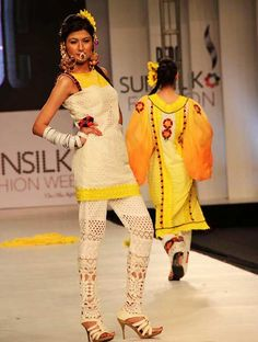 LAHORE: Apr16 – Models walk down the ramp during Lahore Fashion Week in Lahore.