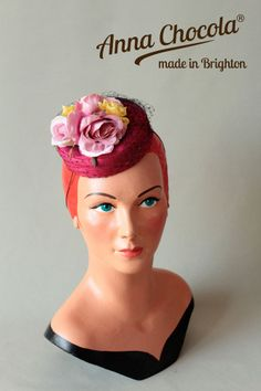 1940s 50s PILLBOX HAT BURLESQUE SILK pink ROSES veil Anna Chocola ® Brighton