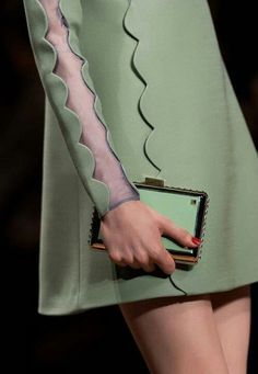 Valentino Fall 2013 * Details Love the scalloped edges and the green.