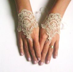 How romantic can you get? Fingerless lace wedding gloves