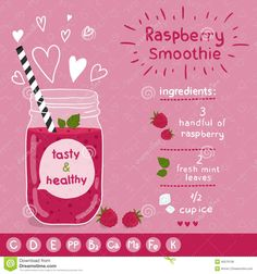 Raspberry Smoothie Recipe. - Download From Over 53 Million High Quality Stock Photos, Images, Vectors. Sign up for FREE today. Image: 45570139