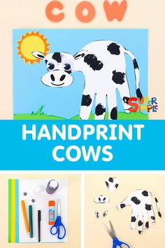 Moo! Make a cow using your handprint. This craft is easy, safe and fun! Teen Girl Crafts, Toddler Crafts, Preschool Crafts, Diy Crafts, Preschool Farm, Simple Crafts, Summer Activities For Kids, Indoor Activities, Farm Activities