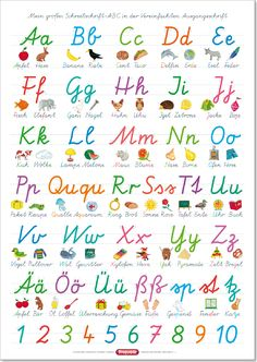 Spielend Lernen Verlag - Fragenbär - Lernposter, Das ABC mit Groß- und Kleinbuchstaben, Buchstaben von A-Z, Zahlen von 1-20