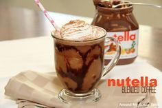 My Nutella Blended Coffee Drink....is a fun twist on a coffeehouse treat! Everything is better with Nutella, right?!?!