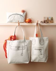 Canvas Pouch and Tote Bags - Using the clip art printed onto fabric transfers, you can turn a plain tote into a witty style statement.
