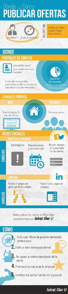 Dónde y cómo publicar ofertas de empleo #infografia #infographic #empleo #rrhh