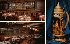 """""""The Rathskeller"""" German restaurant at the Deutsches Haus (California Hall ) in San Francisco (1912-1984). There was polka and ballroom dancing here every Friday and Saturday night with the rotating bands of Karl Lebherz, Othmar Stubler and Joe Kyovsky's """"Showcase Band"""". In the early 60's Steve Cannata (accordion) and Joe Flach (zither) played here."""