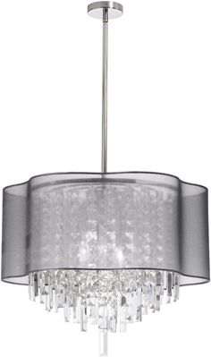 Dainolite 4 Lite Polished Chrome Crystal Pendant With Silver Laminated Organza Shade ILL-206C-PC-814