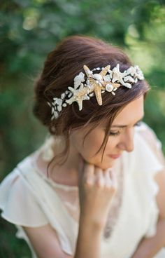 seashell headpiece seashell headband seashell hair by thehoneycomb
