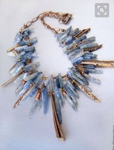 Bold kyanite and copper metalwork necklace