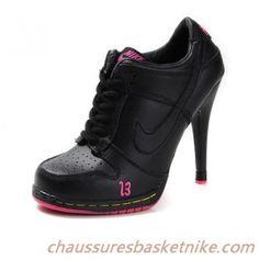 Pas cher Nike Dunk SB Talons Haut Mode Femmes noires