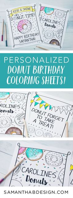 Donut Birthday Party Coloring Sheets / Birthday Party Activity ...