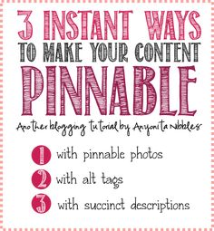 Having a site filled with pinnable photos doesn't have to be a dream. Follow these 3 #blogtips from Anyonita Nibbles
