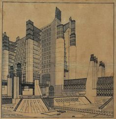 The Città Nuova apartment building with external elevators, galleries, covered walkways, on three street levels (tramlines, automobile lanes, and pedestrian walkway), lamps and wireless telegraph, Antonio Sant'Elia (1888-1916), Italy, 1914, Black ink, blue-black pencil on yellow paper, 52.5 x 51.5cm