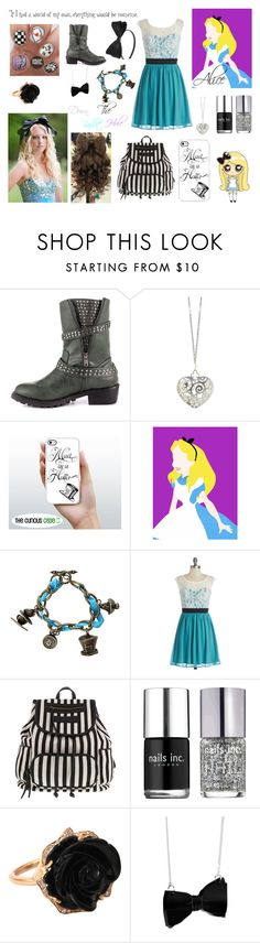 """Modern Alice"" by superlegitawesomegirl ❤ liked on Polyvore featuring Penny Loves Kenny, Sian Bostwick Jewellery, Disney, Meggie, Nails Inc., Irene Neuwirth and modern"