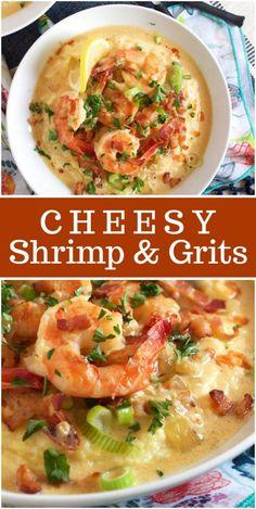 The best Shrimp and Grits recipe- super creamy and cheesy! Cheesy Shrimp and Grits - . Best Shrimp And Grits Recipe, Shrimp And Cheesy Grits, Shrimp Grits, Shrimp Recipes For Dinner, Seafood Recipes, Cooking Recipes, Shrimp And Grits Recipe New Orleans, Spicy Shrimp, Gourmet