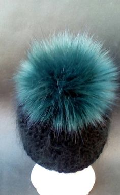 2b9b16ee090 Spare Green Faux Fur Pom Pom Bobble for hat with press stud.long fur. Large  Detachable 16cm pom pom. 45 colours available
