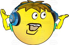 Moustached Yellow Smiley Face Emoticon With Arms, Brown Hair and Headphones Strong Manly Chin Arms Up #arms #computer #emotion #expression #eyes #face #facial #feeling #french #hair #hands #icon #male #man #mood #moustache #PDF #smiley #strong #vectorgraphics #vectors #vectortoons #vectortoons.com