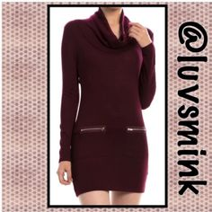 ZIPPERED BODYCON IN BURGUNDY -MEDIUM What could be more chic than a BODYCON dress with zippered pockets, soft knit fabric, and a draped neckline??  Nothing, other than a matching dress in Charcoal Grey !!  Form fitting to wear with your favorite leggings or tights, thigh boots, or booties.  A blend of Poly, Rayon, and Spandex ; 32 inches in length.  Available in Small, Medium, and Large. NO HOLD OR TRADES;  PRICE IS FIRM, UNLESS BUNDLED.  COLOR IS BURGUNDY.  Size is MEDIUM Double Zero…