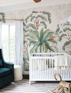JUNGLE WALLPAPER MURAL Lush and full of life this jungle wallpaper will inspire the decor for your entire space. Perfect for a nursery needing a little imagination or an entry way needing a touch of whimsy we love this playful yet sophisticated mural. Kitchen Wallpaper, Nursery Wallpaper, Home Wallpaper, Wallpaper Jungle, Boys Room Wallpaper, Leaves Wallpaper, Artistic Wallpaper, Modern Wallpaper, Moroccan Wallpaper
