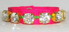 Fuchsia neon textile rhinestone bracelet by Sinners on Etsy Textiles, Neon, Trending Outfits, My Love, Unique Jewelry, Bracelets, Handmade Gifts, Accessories, Etsy
