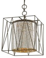 Mercury Glass and Iron Hanging Lantern - Detailed item view - Chandeliers, Mirrors, Lighting and Furniture