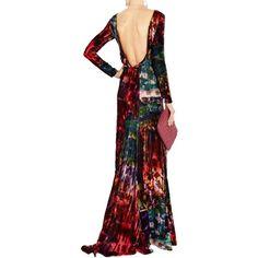 Pre-owned Erdem Multi Dress ($641) ❤ liked on Polyvore featuring dresses, gowns, multi, velvet dress, white fitted dress, velvet evening gown, white evening dresses and white long sleeve dress
