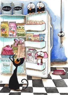 ACEO Print Watercolor Folk Art whimsical Stressie Cat fridge bird crow spider #IllustrationArt