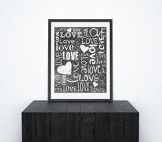 Printable Chalkboard Wall Art, Love Quote, Subway Typography Poster, Quote Art Print, Anniversary Art, Black and White, Home Decor