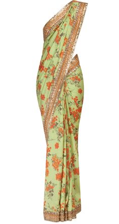 Sabyasachi - SBP0413613N - Floral printed pista green tussar georgette sari with zardosi border. It comes with a golden raw silk blouse piece. COMPOSITION: Georgette, raw silk. CARE: Dry Clean only.
