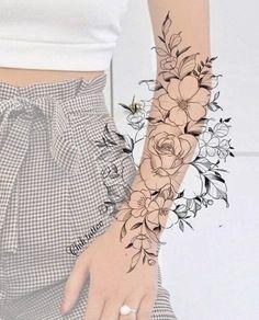 Feminine Tattoo Sleeves, Fake Tattoo Sleeves, Tattoos For Women Half Sleeve, Feminine Tattoos, Unique Tattoos, Back Tattoo Women Full, Floral Arm Tattoo, Flower Tattoo Arm, Floral Tattoo Design