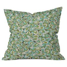 "Throw pillow with an abstract motif by artist Heather Dutton for DENY Designs. Made in the USA.  Product: PillowConstruction Material: Woven polyesterColor: MultiFeatures:  Designed by Heather Dutton for DENY designsConcealed zipper  Insert included Dimensions: 18"" x 18""Cleaning and Care: Spot treat with mild detergent"