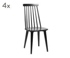 """Sada 4 židlí """"Lotta Black"""", 43 x 92 cm"""