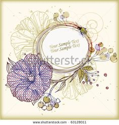 stock vector : eps10 frame with hand-drawn flowers berryes and leaves
