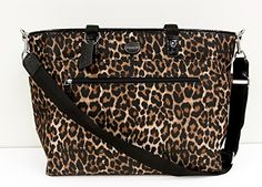 COACH Leopard Print Nylon Baby Diaper Bag in Silver / Natural Multi 33314